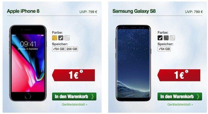 Smartmobil: o2 Allnet Flat mit 5GB LTE + Smartphone   z.B. iPhone 8 mit 64GB für 1€