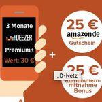 Bis 22 Uhr! Vodafone Allnet-Flat mit 2GB für 10,99€ mtl. + 3 Monate Deezer + 25€ Amazon Gutschein + nur 6 Monate Mindestlaufzeit