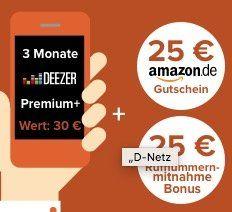 Bis 22 Uhr! Vodafone Allnet Flat mit 2GB für 10,99€ mtl. + 3 Monate Deezer + 25€ Amazon Gutschein + nur 6 Monate Mindestlaufzeit