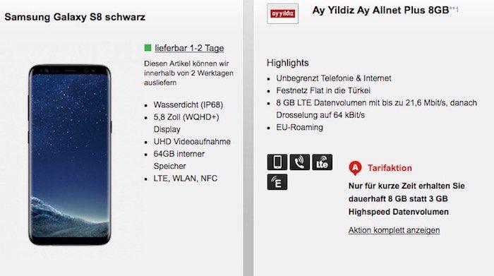Ay Yildiz Ay Allnet Plus mit 8GB LTE + Türkei Flat für 29,99€ mtl. + Samsung Galaxy S8 für 4,95€