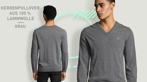 GANT Pullover aus 100% Lammwolle mit V Ausschnitt für Damen und Herren für je 48,90€