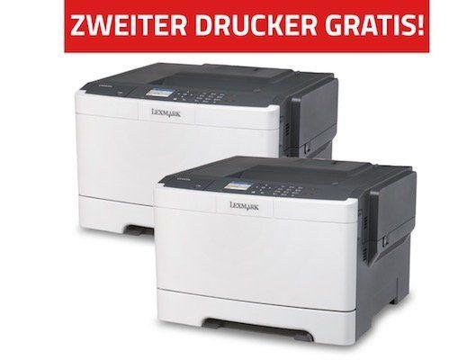 Lexmark CS417dn Farblaser Drucker für 139€ + zweiten Drucker geschenkt