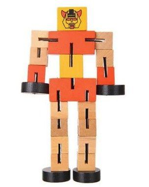 Kleiner Spielzeug Roboter aus Holz mit Lerneffekt für 1,40€