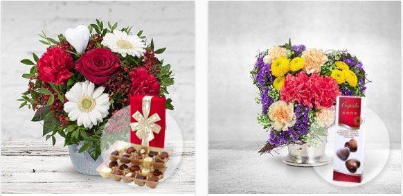 Valentinstags Sträuße mit gratis Vase oder Pralinen + 20% Gutschein ab 24,99€ + keine Versandkosten