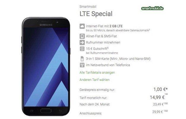 Samsung Galaxy A5 für 1€ + o2 Allnet Flat mit 2GB LTE für 14,99€ mtl.