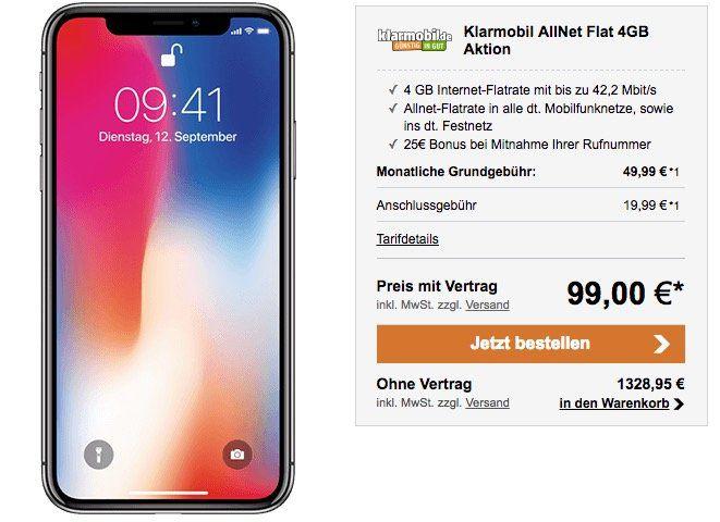 iPhone X für 99€ + Vodafone Allnet Flat + 4GB Daten für 49,99€ mtl.