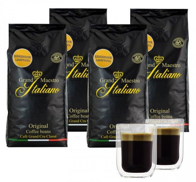 4kg Grand Maestro Italiano Edizione Limitata Kaffeebohnen + 2 doppelwandige Gläser für 49,99€