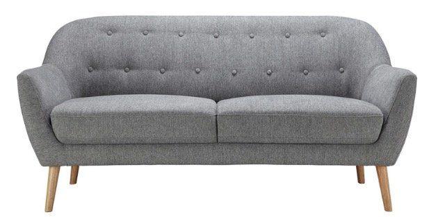 Retro Zweisitzer Sofa Anela mit Holzfüßen in Grau ab 139,30€