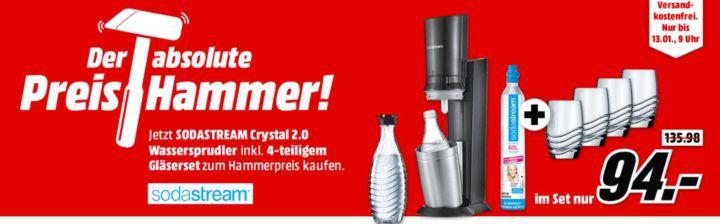 Sodastream Crystal 2 Wassersprudler + 4 passende Gläser für 94€ (statt 117€)