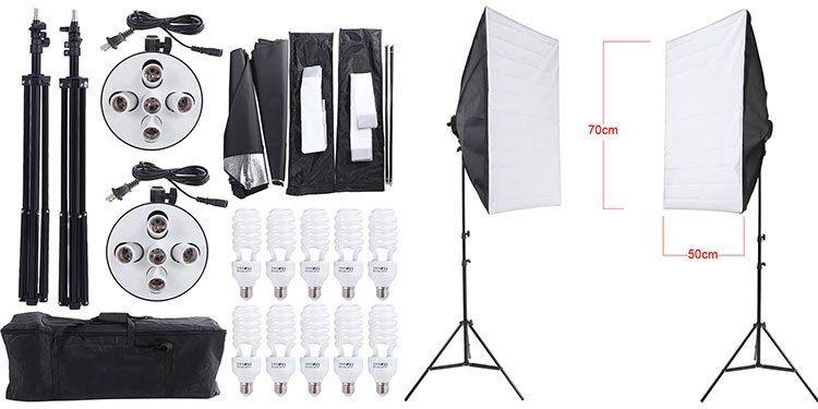 2 Softboxen mit 10 Lampen, Stativen und Tasche für 67,35€ (statt 90€)