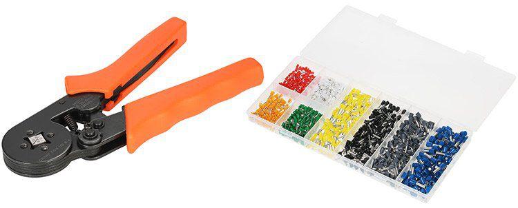 Crimpzange (0.25 6.0mm²) inkl. 800 versch. Crimpverbinder für 13,32€