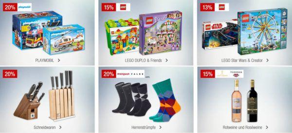 Galeria Kaufhof Sonntagsangebote   z.B. 15% Rabatt auf ausgewählte Rotweine & Roséweine, LEGO DUPLO & Friends uvam.