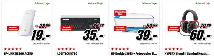 Media Markt: GiGaGünstig Sale für PC Hardware & Zubehör   z.B. HP Deskjet 3633 für 39€