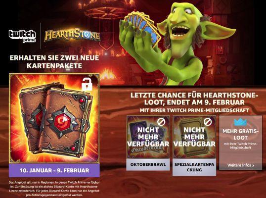 2 Kartenpackungen für Hearthstone gratis   nur für (Twitch) Prime Mitglieder