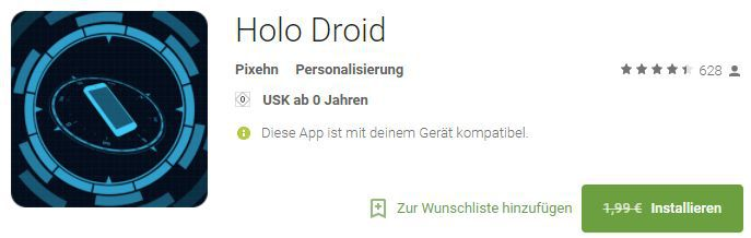 Holo Droid   Live Wallpaper (Android) kostenlos statt 1,99€