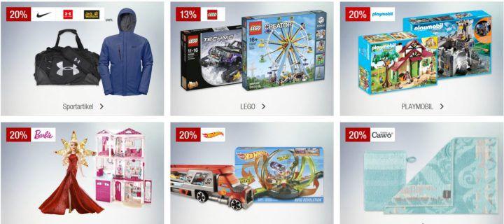 Galeria Kaufhof Sonntags Angebote   z.B. 20% Rabatt auf Hot Wheels, 15% auf Nespresso, Uhren uvam.