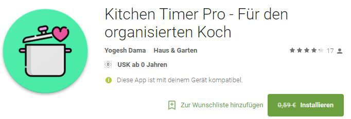 Kitchen Timer Pro (Android) gratis statt 0,59€