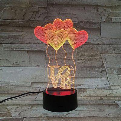 3D LED Licht Love mit 7 versch. Farben für 7,97€