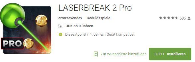LASERBREAK 2 Pro (Android) gratis statt 3,39€