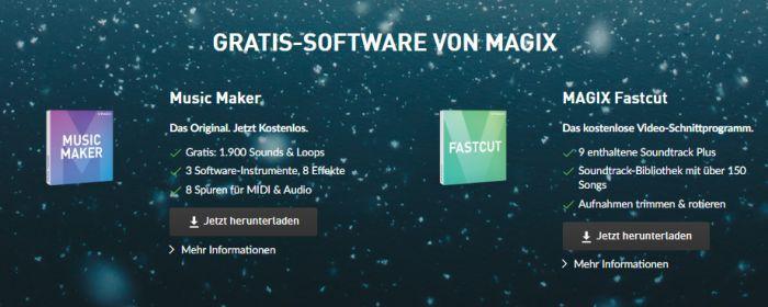 Magix Music Maker und Fastcut kostenlos