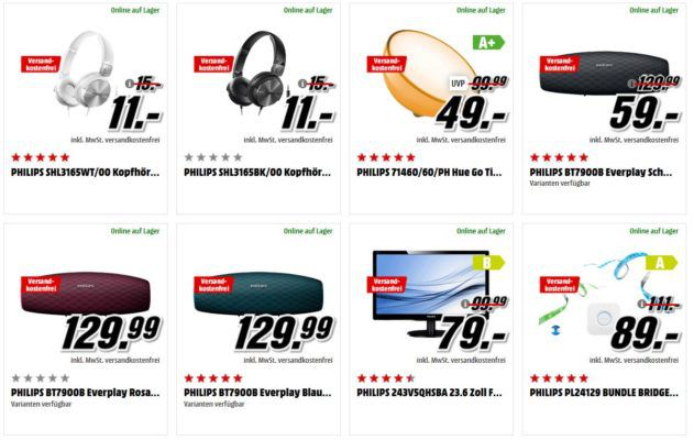 Media Markt Mega Marken Sparen: günstiges Home Entertainment von LG, Sony, Philips und Samsung z.B. PHILIPS Hue Go Tischleuchte für 49€