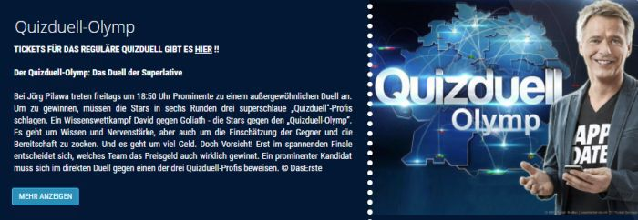 "Freikarten für ""Quizduell Olymp"" (April) in Hamburg"