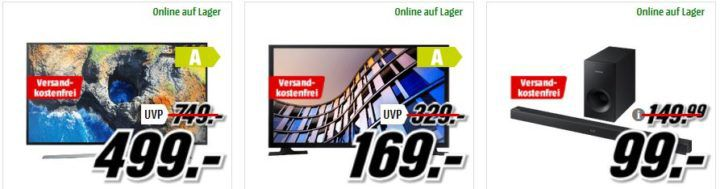 Media Markt Samsung Tiefpreisspätschicht   günstige TVs & Lautsprecher: z.B. SAMSUNG HW K335/ZG Soundbar für 99€