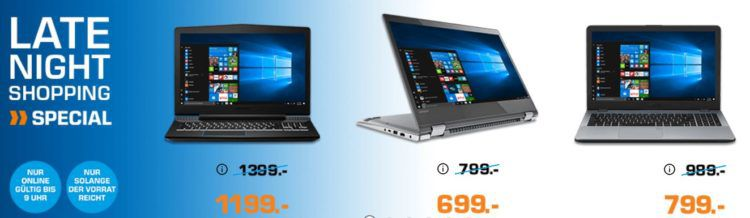 Saturn Late Night Notebooks Special: z.B. Lenovo Yoga 520 Convertible für 799€