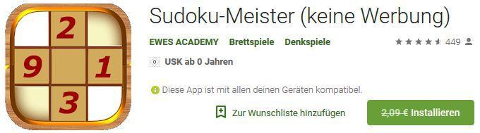 Sudoku Meister (Android) gratis statt 2,09€