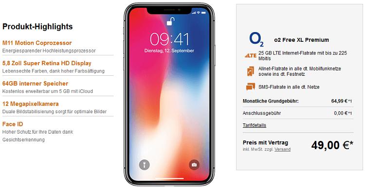 iPhone X 64GB für 49€ + o2 Free XL mit 25GB LTE für 64,99€ mtl.