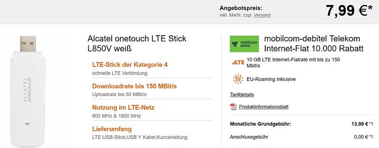 Alcatel onetouch LTE Stick für 7,99€ + Telekom Internet Flat mit 4 GB LTE für 8,99€ oder 10 GB LTE für 13,99€