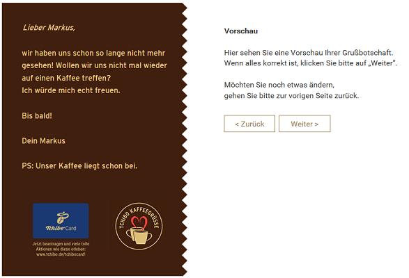 Kaffeegrüße mit 50g Tchibo Feine Milde gratis verschicken
