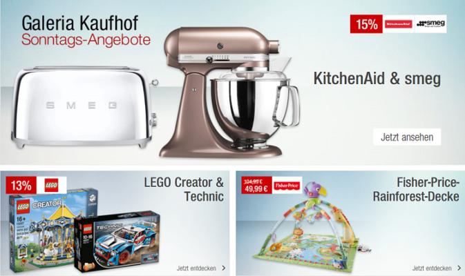 Galeria Kaufhof Sonntagsangebote   z.B. 15% Rabatt auf Artikel von smeg und Kitchenaid