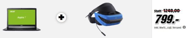 ACER Aspire 7 Gaming Notebook 17Zoll + Acer VR Headset für 799€ uvm. im Media Markt Dienstag Sale