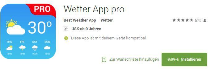 Wetter App Pro (Android) gratis statt 3,79€