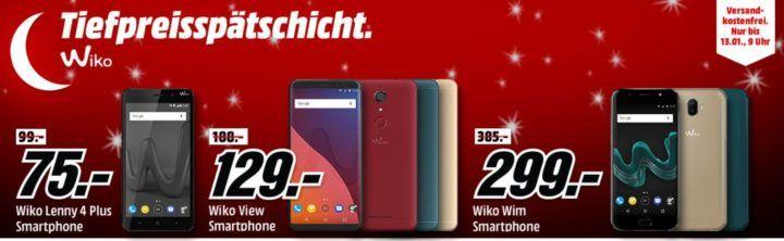 Media Markt Wiko Tiefpreisspätschicht: günstige Smartphones z.B. WIKO Lenny 4 Plus 16 GB für 75€