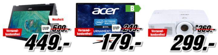 Media Markt Acer Tiefpreisspätschicht: günstige Beamer, Notebooks, PCs und Monitore