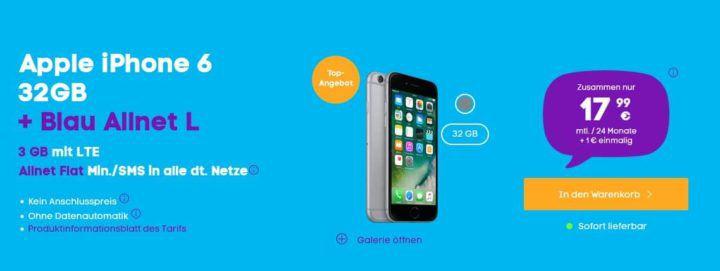 iPhone 6 + Blau AllNet & SMS Flat + 3GB LTE für 17,99€ mtl.
