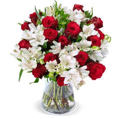 Rosenstrauß Only for you mit 33 Blumen (rote Rosen & Inkalilien) für 24,98€