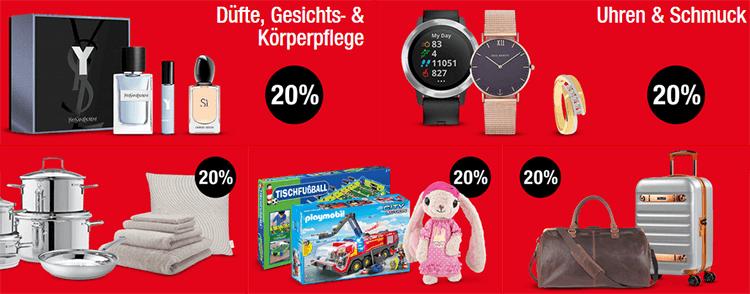 Galeria Kaufhof: 20% auf Düfte & Pflege, Uhren & Schmuck, Spielwaren, Zuhause & Reisegepäck