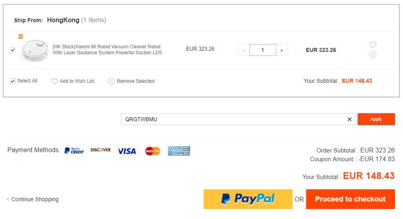 Vorbei! Xiaomi Mi Vacuum Saugroboter für nur 148,43€ (statt 230€)