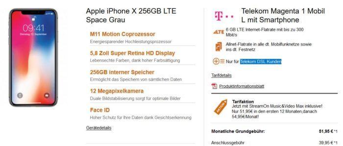 Iphone X 256GB für 299€ + Telekom 6 GB / 12 GB LTE 300 + Telefon & SMS Flat + Hotspot + StreamON für 53,45€ mtl. (nur Telekom DSL Kunden)