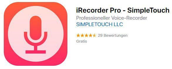 Vorbei! iRecorder Pro (iOS) gratis statt 3,49€