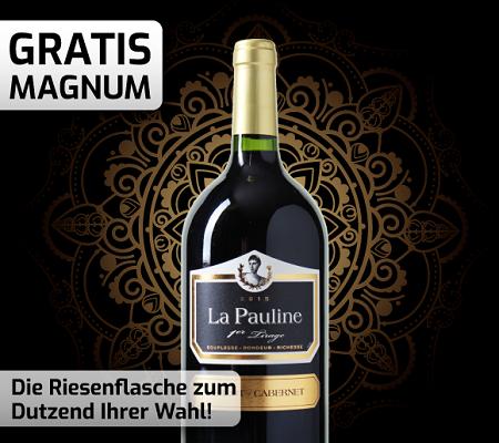 Weinvorteil: 1,5 Liter Magnumflasche La Pauline   1er Tirage beim Kauf von 12 Flaschen Wein geschenkt