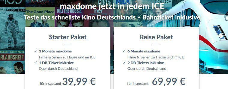 Zwei einfache Bahnfahrten (ICE/IC/EC) + 6 Monate Maxdome für 69,99€
