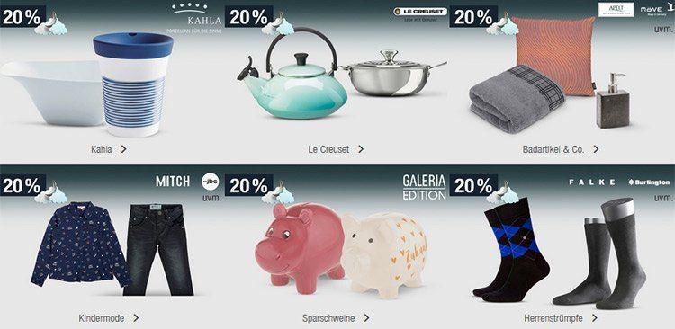 20% Rabatt auf Sportmarken, Kindermode, Le Creuset, Badartikel uvm.   Galeria Kaufhof Mondschein Angebote