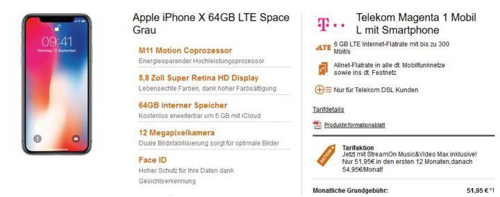 Apple iPhone X 64GB für 149€ + Telekom Magenta Mobil L Young AllNet mit 12GB LTE für 52,95€ mtl.