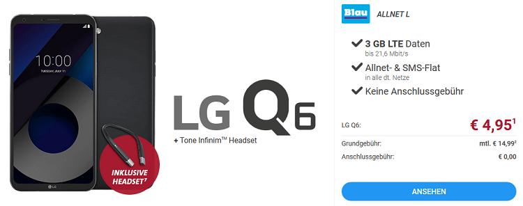 LG Q6 Smartphone + Headset für 4,95€ + Blau Allnet L Tarif mit 3 GB LTE für 14,99€ mtl.