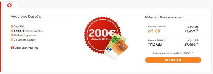5GB Vodafone 500 Mbit/s Datenflat für eff. 9,16€ oder 12GB für eff. 12,49€ dank Auszahlungen.
