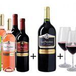 Wein Probierpaket La Pauline mit 6 Flaschen Wein + Magnum Flasche + 4 Schott Zwiesel Gläser für 49,99€